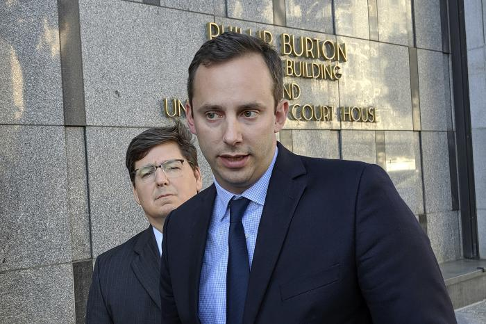 In this Sept. 24, 2019, file photo, former Google engineer Anthony Levandowski speaks to the media, as his attorney Miles Ehrlich stands behind him outside of a federal courthouse in San Francisco