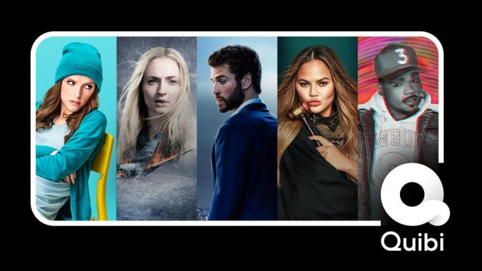 """A selection of images from programs offered on the new Quibi service, from left, Anna Kendrick from """"Dummy,"""" Sophie Turner, who stars in """"Survive,"""" Liam Hemsworth, who stars in """"Most Dangerous Game,"""" Chrissy Teigen in """"Chrissy's Court"""" and Chance the Rapper in """"Punk'd."""""""