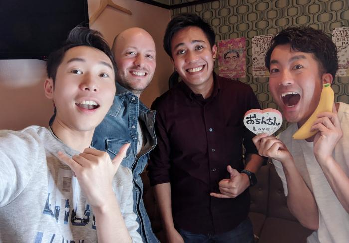(l to r) Andrew Pugsley, Meng and friends on an episode of Tokyo BTM.