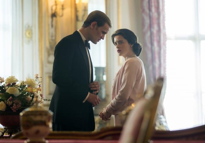 """Claire Foy as Queen Elizabeth II, right, and Matt Smith as Prince Philip in a scene from """"The Crown."""""""
