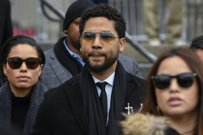 """Former """"Empire"""" actor Jussie Smollett leaves the Leighton Criminal Courthouse in Chicago."""