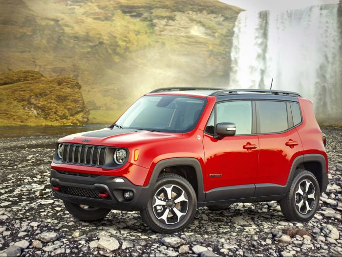 This undated photo provided by Stellantis shows the 2020 Jeep Renegade, a small SUV that offered an average savings of about 14% in August