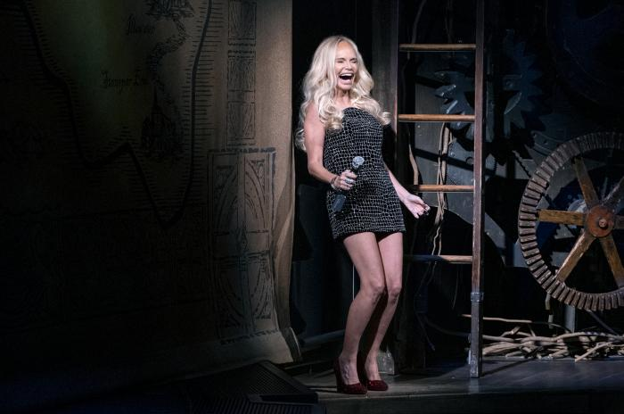 """Actress Kristin Chenoweth gives the curtain speech on the stage of """"Wicked"""" at the Gershwin Theatre Tuesday, Sept. 14, 2021, in New York."""